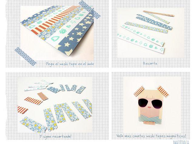 Sencilla e ingeniosa manera de hacer imanes con forma de washi tape.