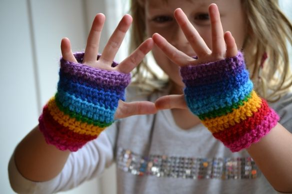 Rainbow Mitts For Maia Fingerless Mittens Easy Crochet Patterns