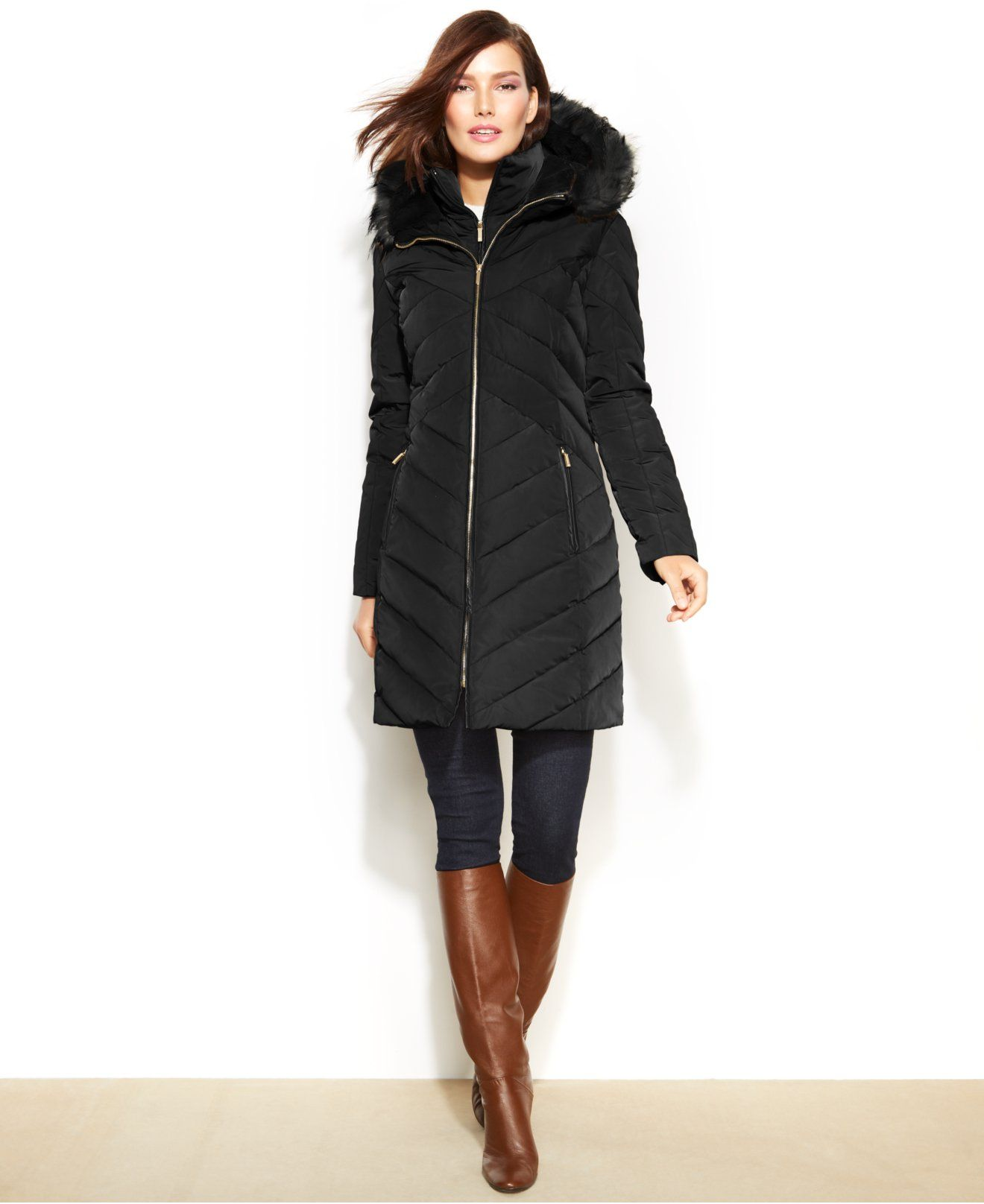 Jones New York Faux Fur Trim Hooded Down Puffer Coat Coats Women Macy S Down Puffer Coat Puffer Coat Coats For Women [ 1616 x 1320 Pixel ]