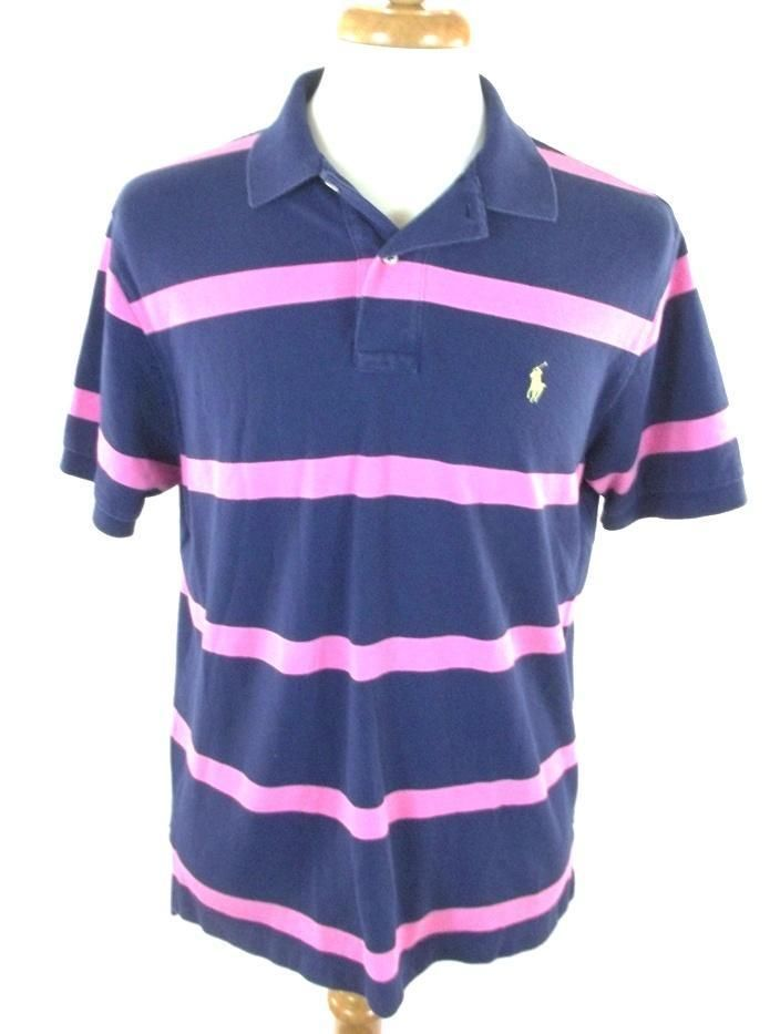 2ed4217052 Ralph Lauren Polo Blue Pink Striped 100% Cotton Short Sleeve Shirt Mens  Large L #PoloRalphLauren #PoloRugby