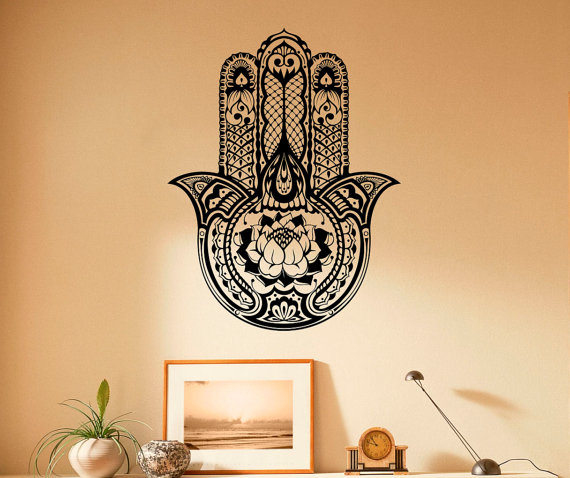Hamsa Hand Wall Decal Indian Buddha Vinyl Stickers Lotus Pattern ...