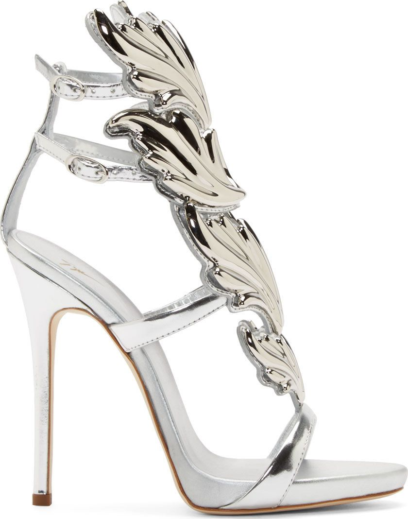 29e012af43d Giuseppe Zanotti Silver Leather Wing Decal Kanye West Edition ...