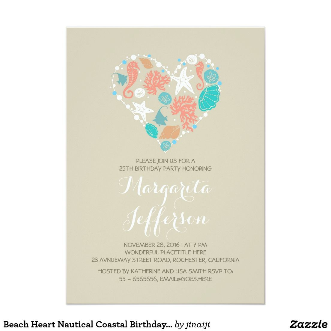 Beach Heart Nautical Coastal Birthday Party Card Beautiful ocean treasures beach heart birthday party invitation with white pearls, coral, starfish, sand dollars, seahorses and seashells