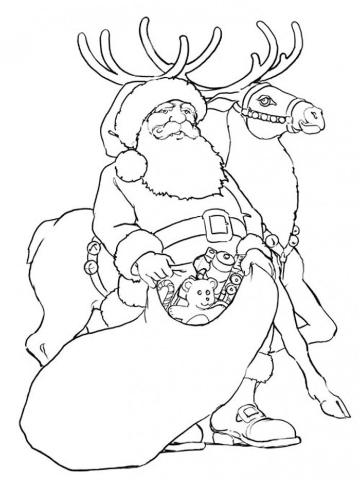 Free Printable Reindeer Coloring Pages For Kids Santa Coloring