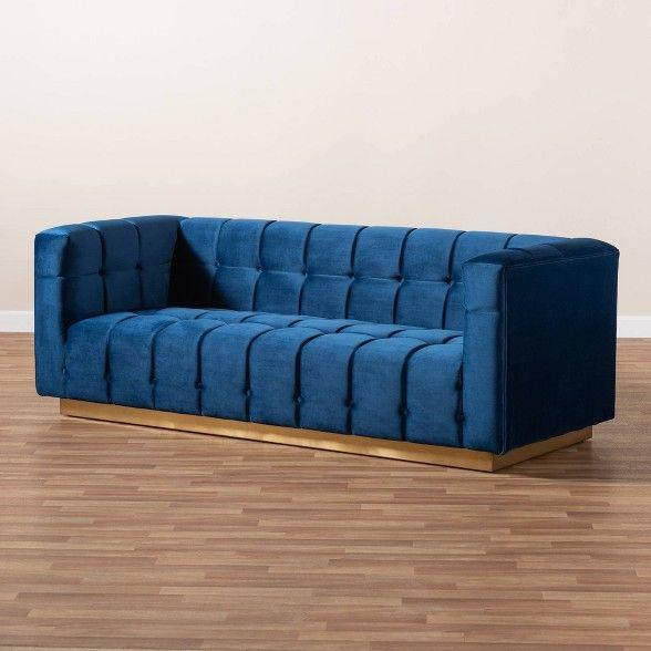 Best Loreto Velvet Upholstered Sofa Blue Gold Baxton Studio 400 x 300