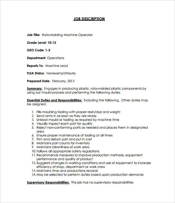 Machine Operator Job Description Templates Free Sample Machinist