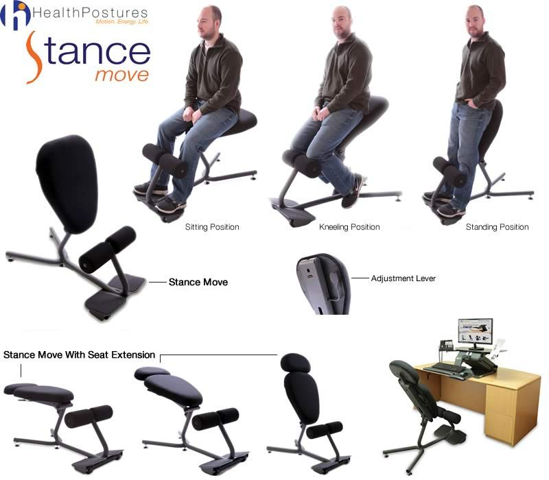Another innovation of this Stance Angle Chair is it's ability to transform  into a kneeling chair