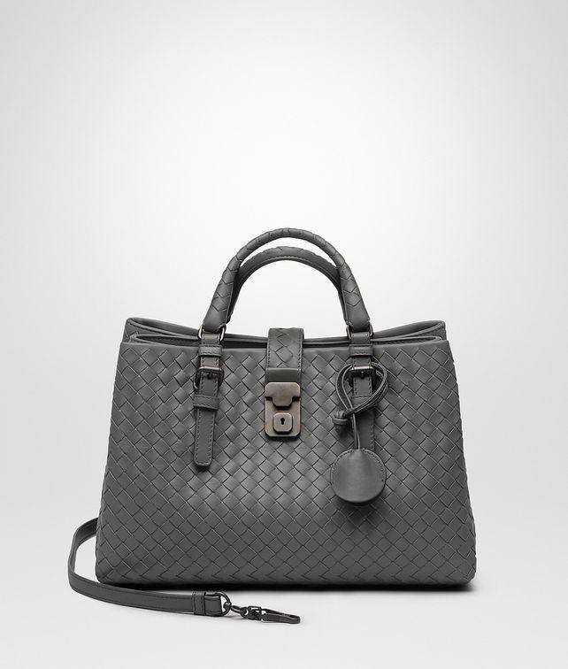 bdfefe730885 Bottega Veneta Light Gray Intrecciato Calf Small Roma Bag