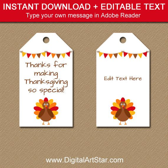 Gift Tags Table Decor Thank You Favors Instant Download Thanksgiving Turkeys Printable Cupcake Toppers or Favor Tags for Bag Tags