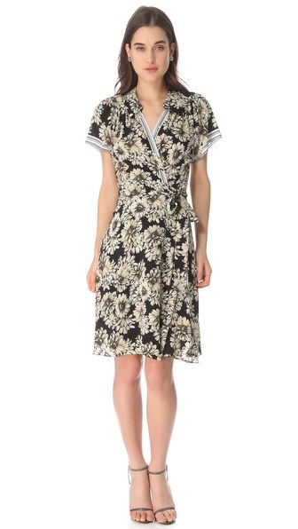 I imagine wearing this while wandering around Paris or Venice. L'Agence Short Sleeve Wrap Dress