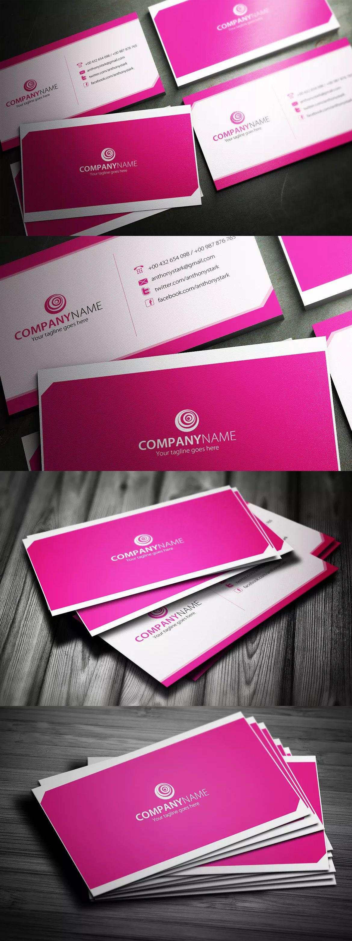 Pink Business Card Design Template PSD