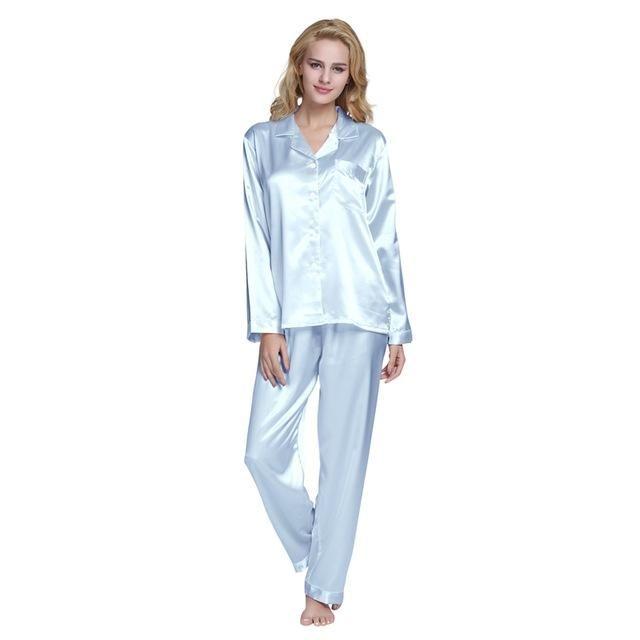 Tony Candice Hot Sale Couple Silk Pajamas Set Men Stain Nightgown Lovers  Sleepwear Slim Loungewear For Ladies 27bc44116