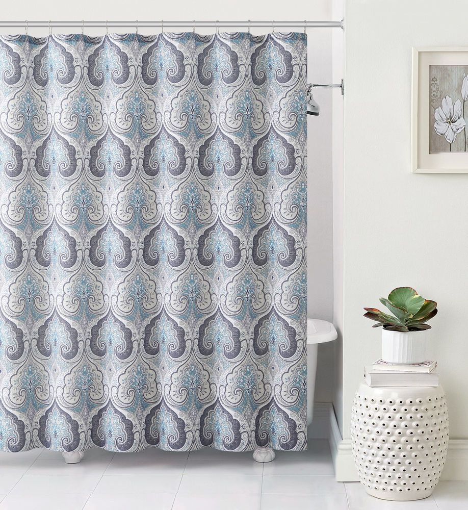 Lawrence Beryl Blue Gray Taupe Teal Aqua Paisley Fabric Shower Curtain