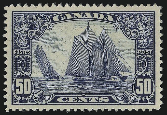 Bluenose stamp - Canada - blue fishing schooner