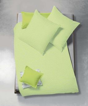 bügelfreie und pflegeleichte seersucker bettwäsche in grün-weiß