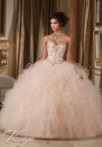 Dazzling Beaded Bodice on a Ruffled Tulle Ball Gown #89113