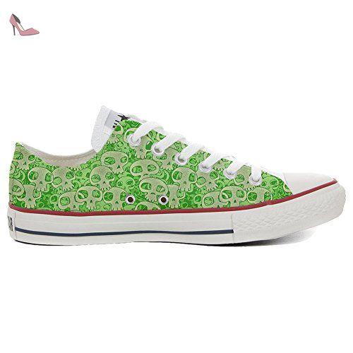 Converse All Star personalisierte Schuhe (Handwerk Produkt) Green Skull  34 EU