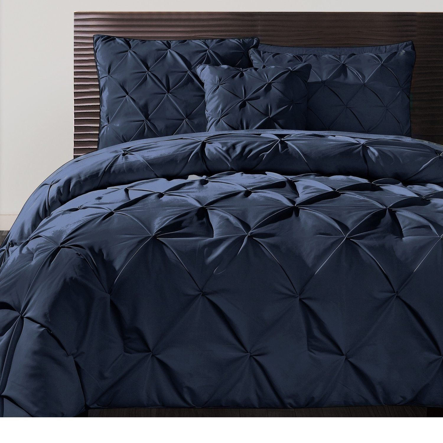 Navy Dark Blue Pinch Pleated Duvet Cover King Set Plush Pinched