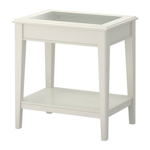 Liatorp Table D Appoint Blanc Verre 57x40 Cm Ikea Side Table