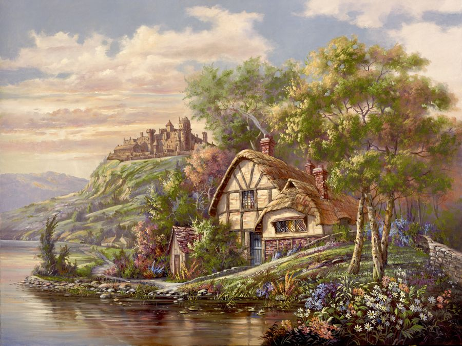 Castle Hill Manor by Carl Valente ~ English country cottage on river ~ floral gardens