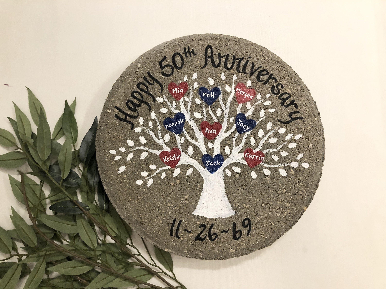 Anniversary garden stone personalized garden stone white