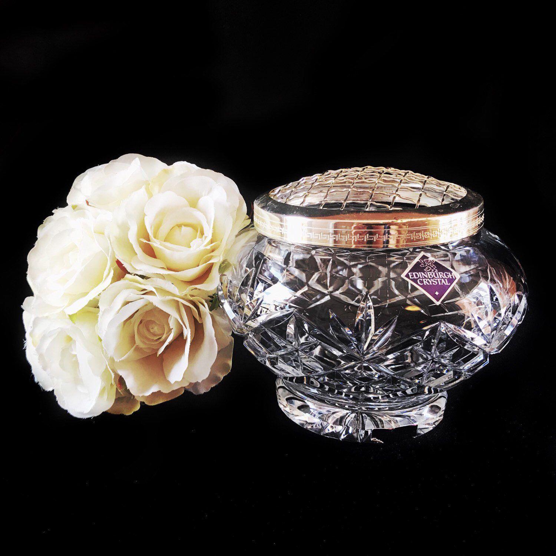 Vintage Crystal Vase Medium Rose Bowl With Mesh Fruit Bowl Crystal Vase Vintage Crystal Crystals