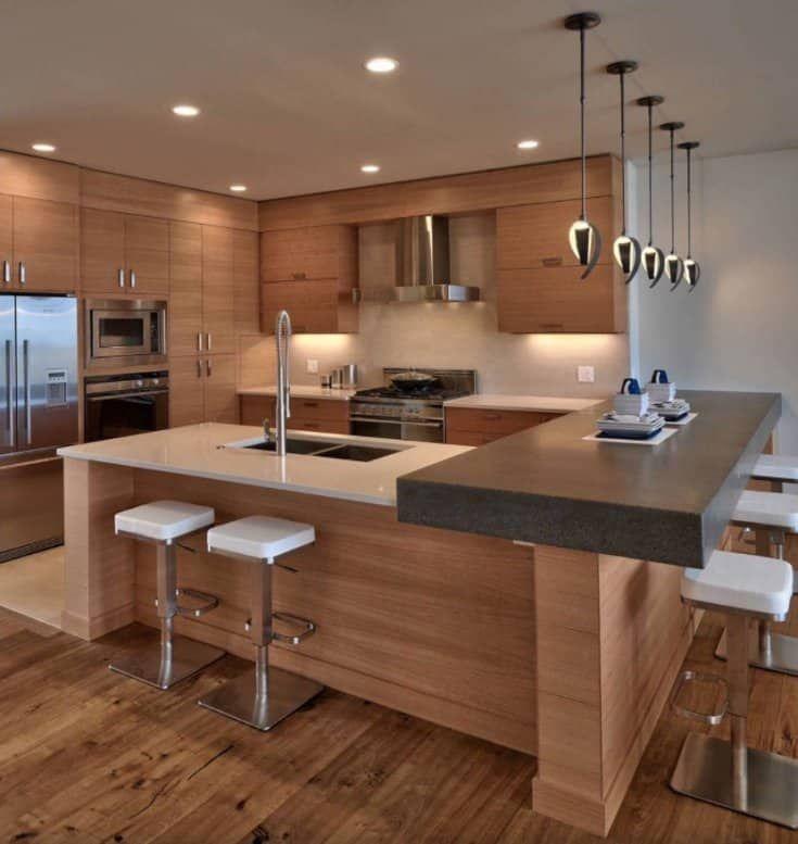 Wood Modern Kitchen with Dark Island