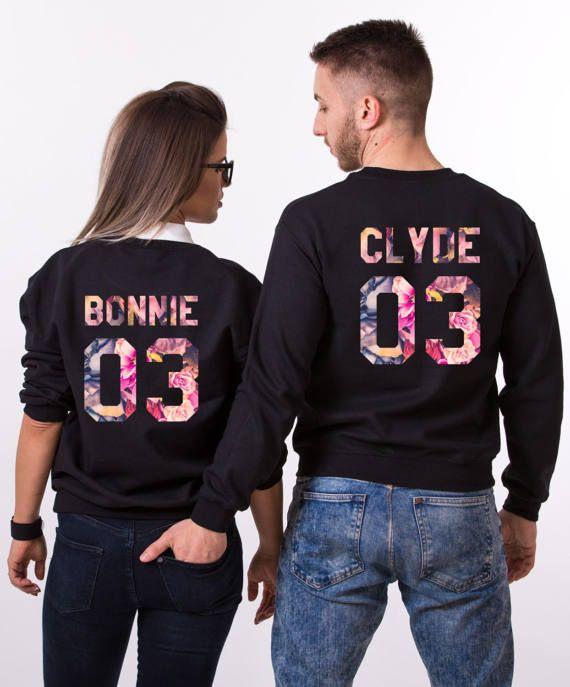 Bonnie Clyde Fleur Sweatshirts, Matching Hoodies, Bonnie Clyde 03, Couples Sweatshirts, Floral Sweatshirts