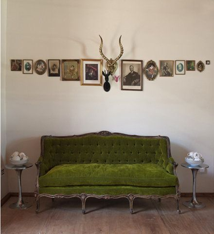 little green sofa and a line of images and cool stuff