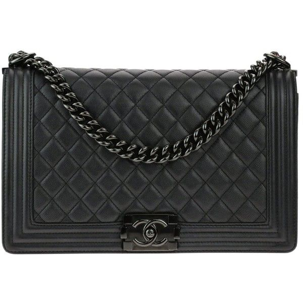 Chanel New Medium So Black Caviar Leather Iridescent Boy Bag Liked On Polyvore Featuring Bags Handbags Real