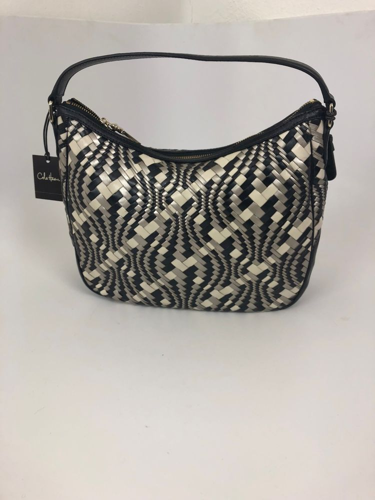 90e3e32769 Cole Haan Woven Leather Hobo Black Cream Pewter/Silver with dust cover  #fashion #clothing #shoes #accessories #womensbagshandbags (ebay link)