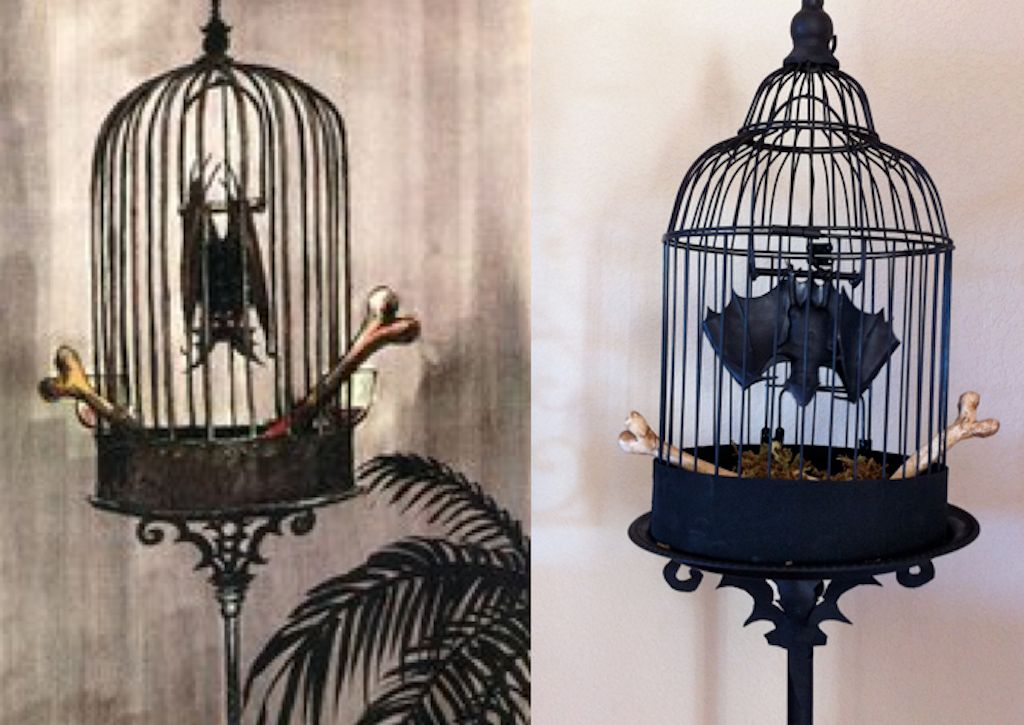 neat idea hanging a rubber bat up in a birdcage halloween forum member prop based on marc davis concept art for the haunted mansion - Vampire Halloween Decorations