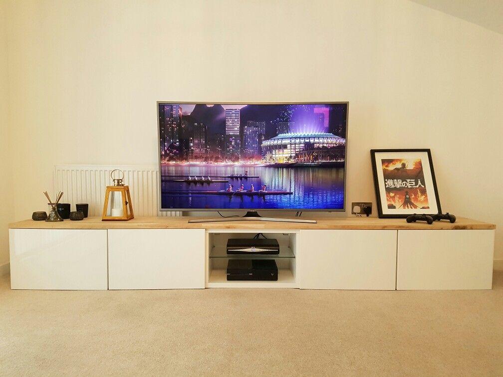 Besta wohnzimmer ~ Ikea besta tv stand with an oak wood top. #ikea #tvstand #besta