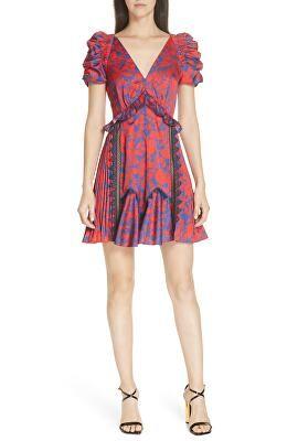 69bd31b4d3e SELF-PORTRAIT Designer Floral Print Lace   Ruffle Trim Satin Minidress