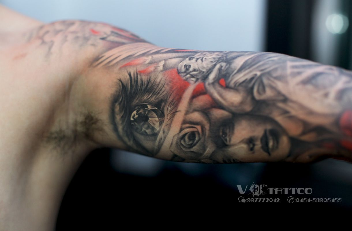 #tattoo #art #ink #inked #colored #3d #eye #face #womans_face #hand #shoulder #realistic #china #harbin #Vtattoo