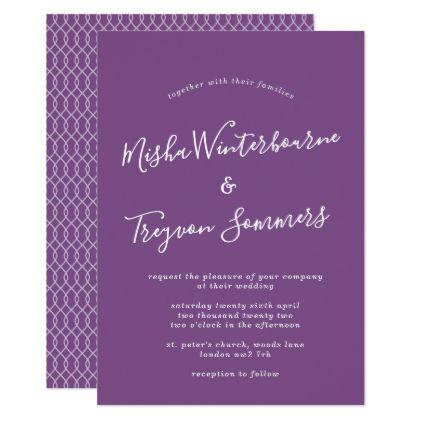 Simple Purple Typographic Wedding Invitation