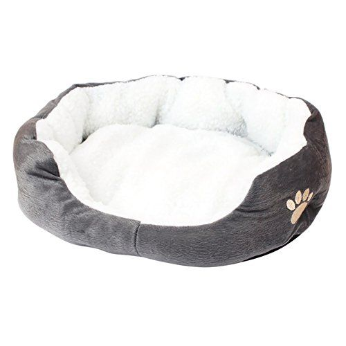 Multi color paws Nesting reversible fleece dog bed cat bed