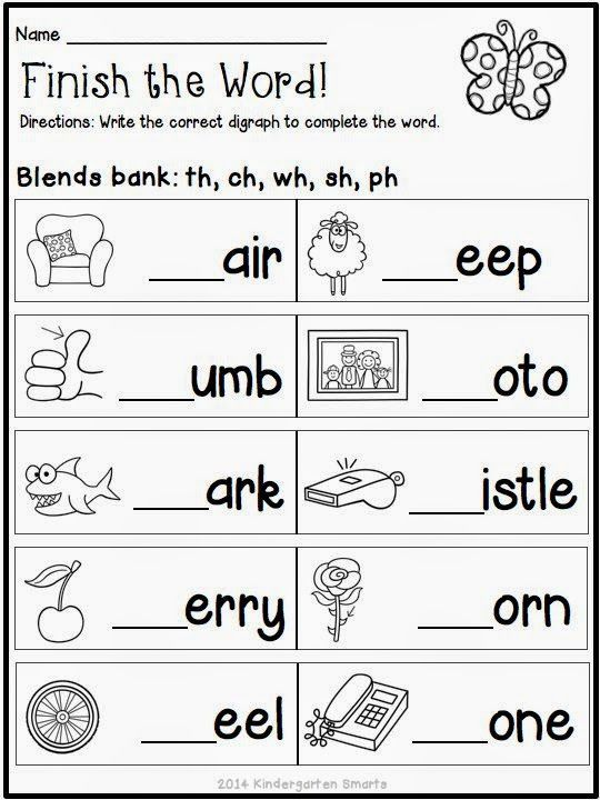 FREEBIE Quick and Easy Printable Spring Themed Worksheets – Digraphs Worksheets