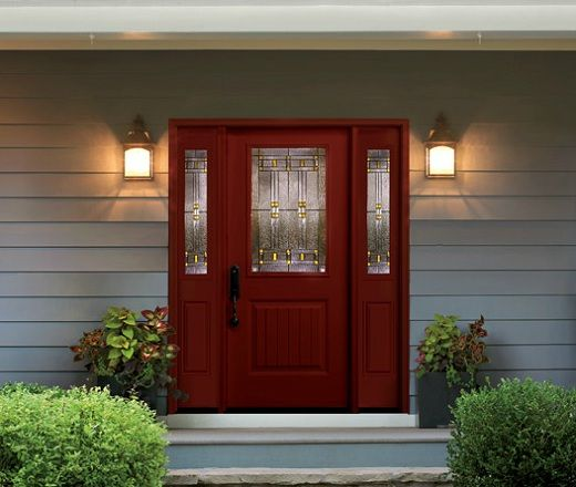 16 Fiberglass Siding Home Design Ideas: Painted Door With Sidelights... No Trim Work.