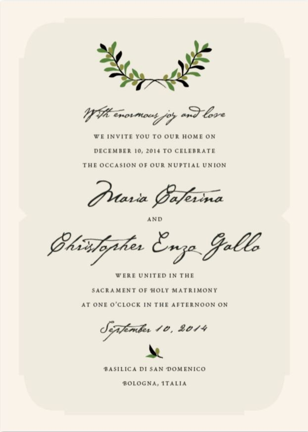 Italiano Italian Wedding Invitations Wedding Invitation