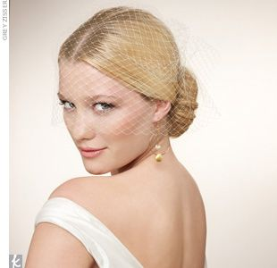 Polished Chignon and Birdcage Veil