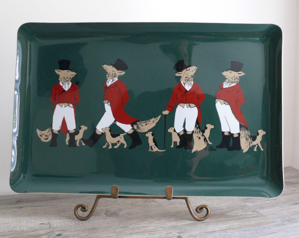 Vtg Cera Serving Tray Fox Hound Equestiran Barware Serving Humourous Design | eBay