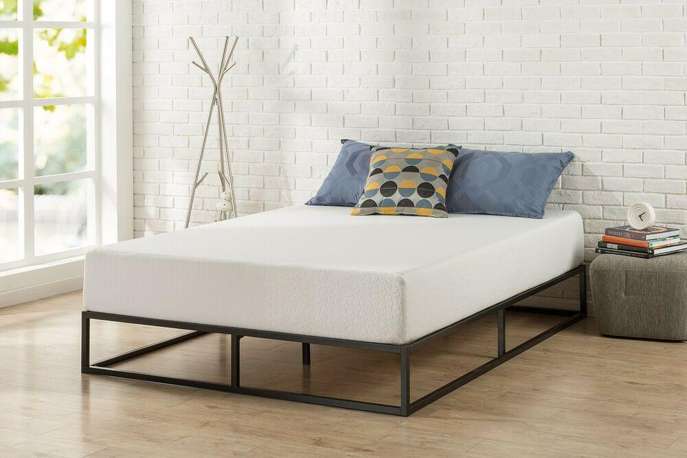 Bed Steel Frame Mattress Foundation Wood Slat Support