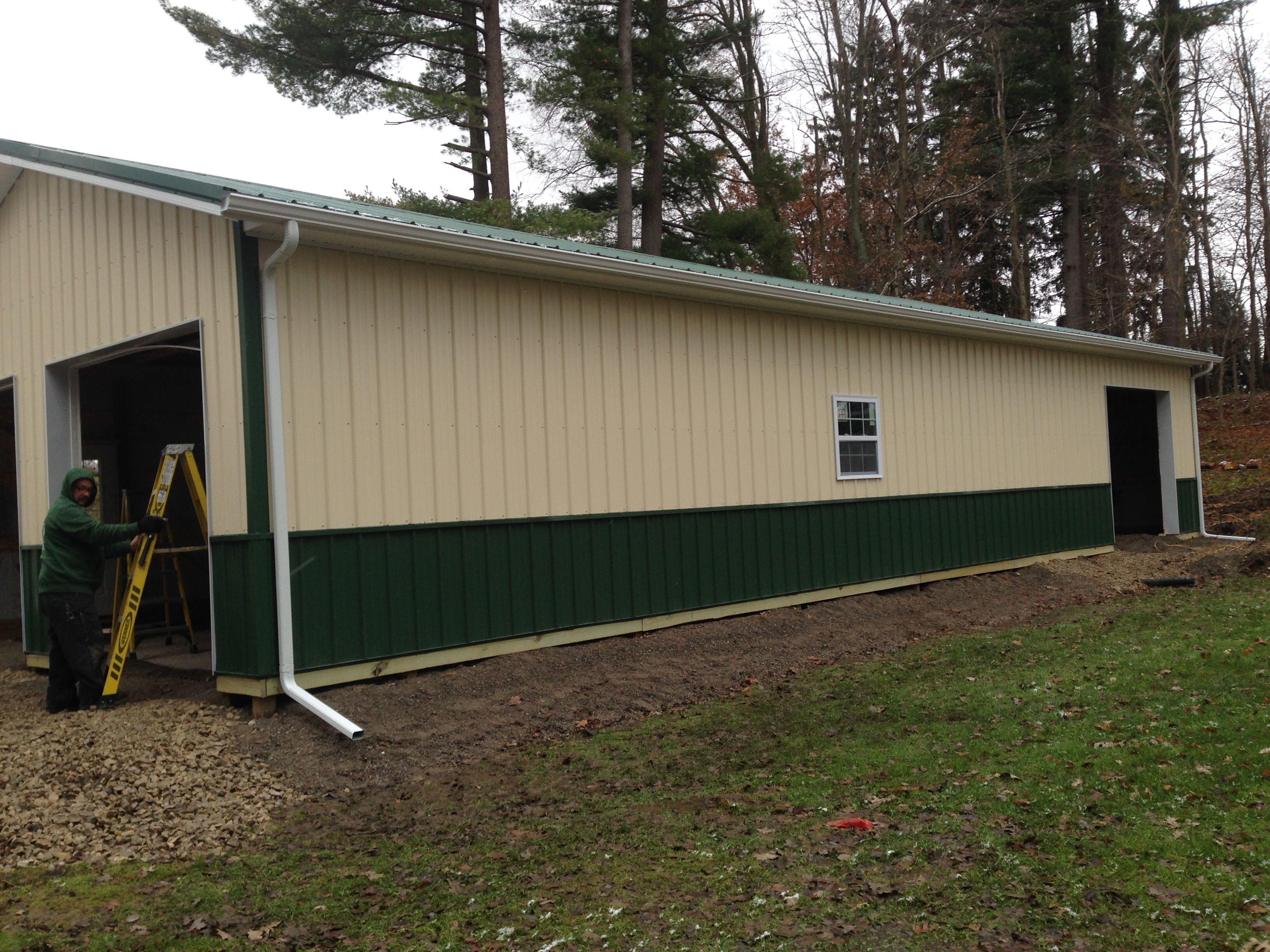 White Gutter Post Frame Building Gutters Pole Barn