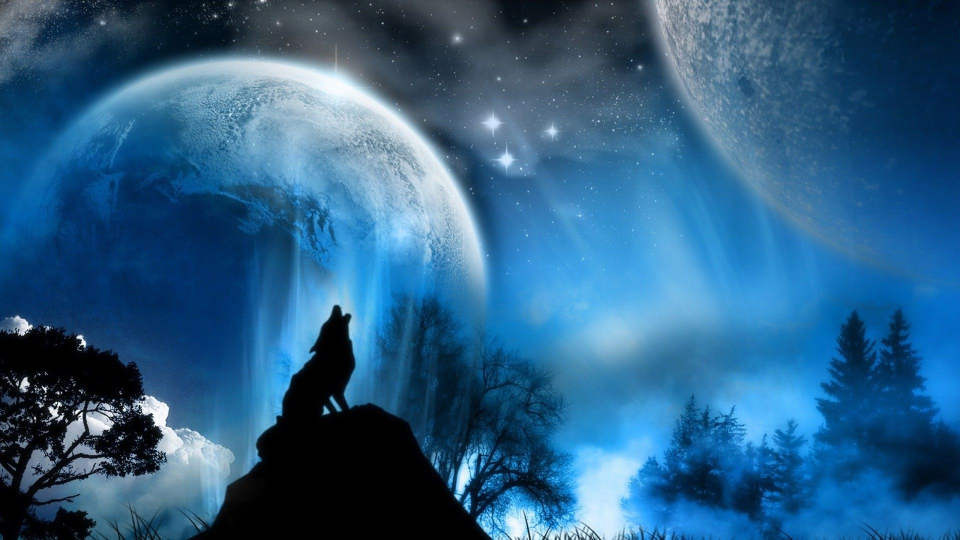 HD 1920x1080 Abstract Wolf Howling Free Wallpaper