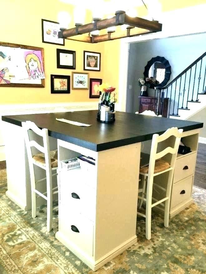 Large Craft Table With Storage Work Diy Cheap Desk