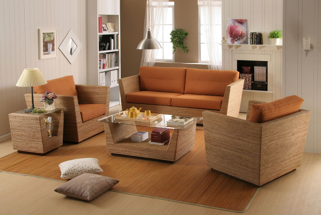 Featured appealing rattan living room design rattan with for White living room chairs