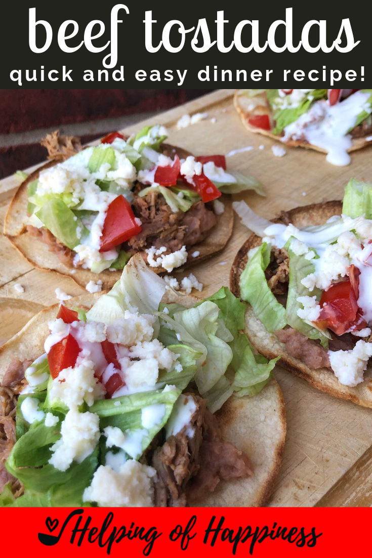 I LOVE making these beef tostadas when I have a bunch of leftover Mexican food that I need to use up. They're very easy to put together, and our kids love them! These are delicious served with our Mexican Style Corn on the Cob.