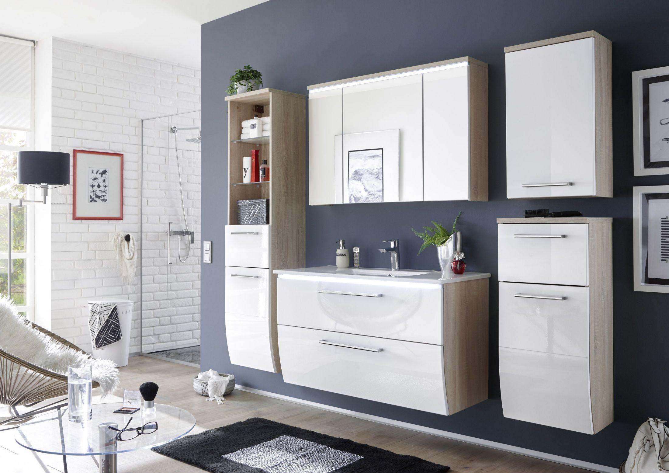 Badezimmer 5tlg Sonoma Weiss Mit Beleuchtung Woody 32 00231 Holz Modern Jetzt Bestellen Unter Https Moebel L Badezimmer Komplett Badezimmer Badezimmer Set