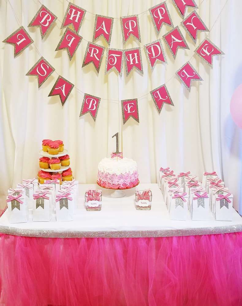 Pink Silver White Birthday Party Ideas 1st Birthday Party For